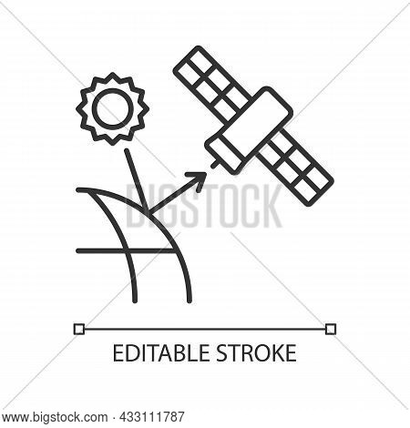 Remote Sensing Satellite Linear Icon. Digital Earth Conceptualization. Planet Replica Creating. Thin