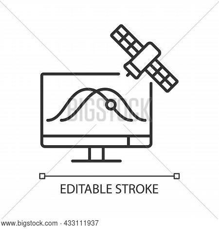 Satellite Tracking Linear Icon. Artificial Satelites Orbits Observation Through Application. Thin Li