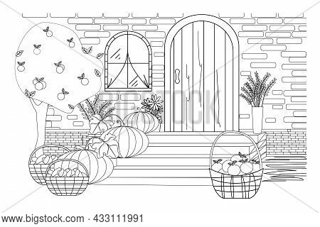 Coloring Book For The Thanksgiving Holiday. Vector Black And White Illustration With Pumpkins, Colle