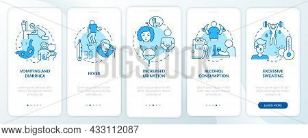 Dehydration Causes Blue Onboarding Mobile App Page Screen. Loss Of Water Factors Walkthrough 5 Steps