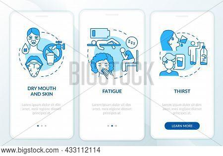 Dehydration Symptoms Blue Onboarding Mobile App Page Screen. Signs Of Fluid Loss Walkthrough 3 Steps