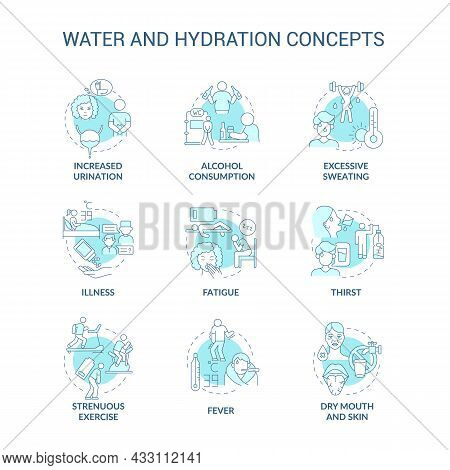 Water And Hydration Blue Concept Icons Set. Dehydration Symptoms. Additional Liquid Consumption. Wat
