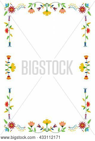 Mexican Otomi, Tenango Embroidery Style Frame. Ethnic Floral Design. For Fiesta Invitation, Greeting