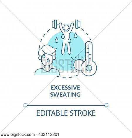 Excessive Sweating Blue Concept Icon. Hot Weather Leads To Sweating And Heatstroke. Exercising. Dehy