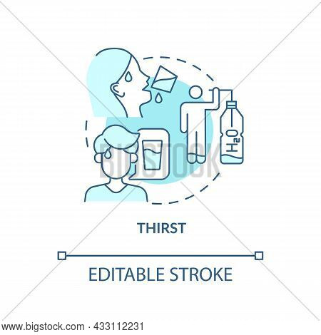 Thirst Blue Concept Icon. Excessive Thirst Is Diabetes Sign. Fluid Balance In Body. Dehydration Sign