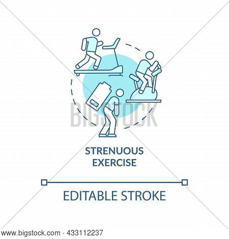 Strenuous Exercise Blue Concept Icon. Intense Activity Requires Additional Fluid Consumption. Rehydr