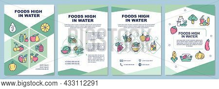 Foods High In Water Brochure Template. Vegetables And Fruits. Flyer, Booklet, Leaflet Print, Cover D