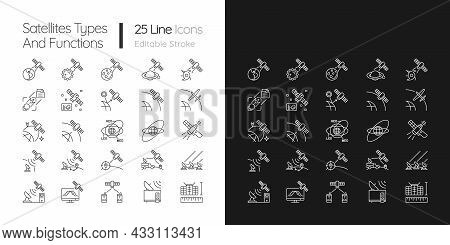 Satellites Types Linear Icons Set For Dark And Light Mode. Celestial Bodies Observation, Exploration