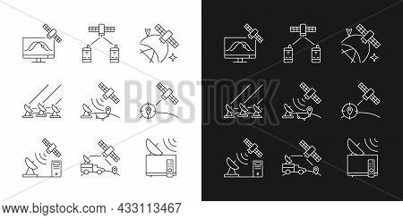 Artificial Satellites Linear Icons Set For Dark And Light Mode. Satellite Tracking, Positioning Syst