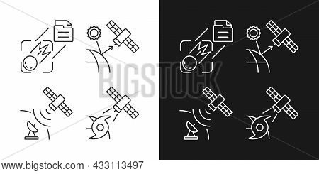 Climate Monitoring Satellites Linear Icons Set For Dark And Light Mode. Meteorological Earth Observa