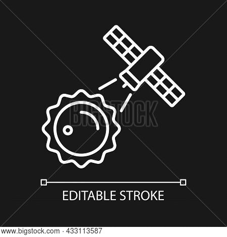 Sun Observation Process White Linear Icon For Dark Theme. Heliophysics Science Investigation. Thin L