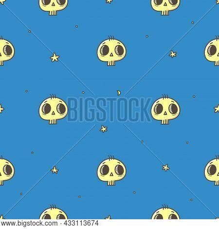 Seamless Pattern With Cute Skulls On  Blue Background. Halloween Doodle Wallpaper. Autumn Cartoon Pr