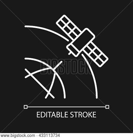 Polar Satellite White Linear Icon For Dark Theme. Artifial Satelite Investigating Pole Surface. Thin