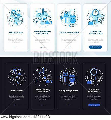 Challenging Consumerism Dark, Light Onboarding Mobile App Page Screen. Walkthrough 4 Steps Graphic I