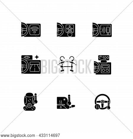 Sports Car Accessories Black Glyph Icons Set On White Space. Built-in Functions In Auto. Innovative