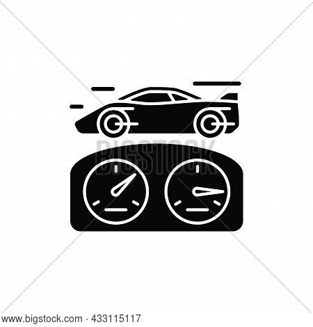 Top Speed Black Glyph Icon. Sports Car Racing. Detecting Vehicle Speed. Professional Auto Sport. Tes