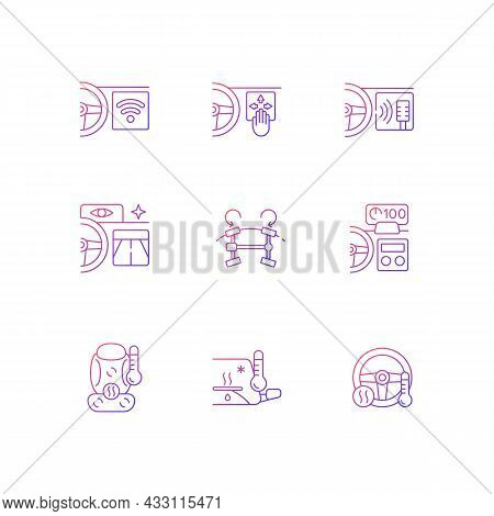 Sports Car Accessories Gradient Linear Vector Icons Set. Built-in Functions In Auto. Innovative Vehi