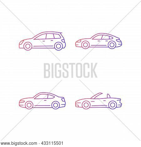 Practical Sports Cars Gradient Linear Vector Icons Set. Hatchback Model. Sports Sedan. Coupe Automob