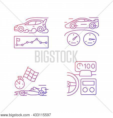Automobiles Racing For Competition Gradient Linear Vector Icons Set. Rallying Event. Test Car Limits