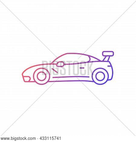 Customized Sports Car Gradient Linear Vector Icon. Designing Vehicle For Street Racing. Upgrading Pe