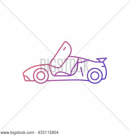 Car With Butterfly Doors Gradient Linear Vector Icon. High-performance Sports Vehicle. Supercar Modi