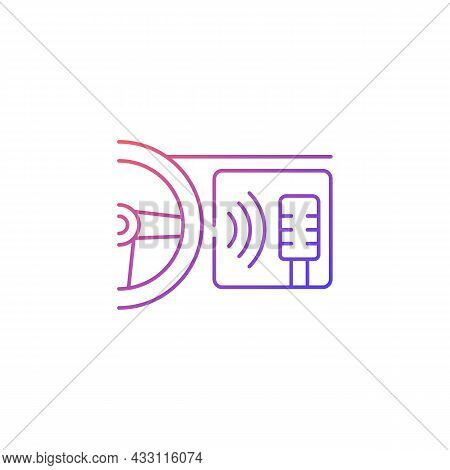 In-car Voice Control Gradient Linear Vector Icon. Digital Voice Assistant. Self-driving Feature. Spe