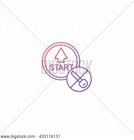 Push Button Start Gradient Linear Vector Icon. Keyless Ignition Technology. Vehicle With Remote Star