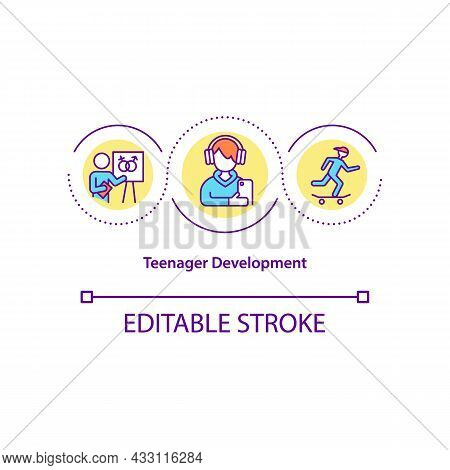Teenager Development Concept Icon. Puberty Abstract Idea Thin Line Illustration. Body And Mental Cha