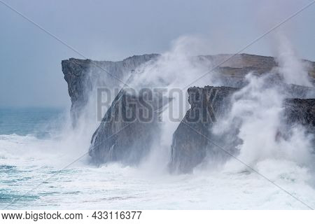 Landscape Of The Karst Limestone Sea Cliffs In Asturias In The Llanes Coast, North Of Spain, With Th