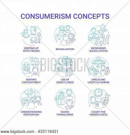 Consumerism Blue Gradient Concept Icons Set. Mindless Purchasing. Reasons To Buy More. Spend Money.