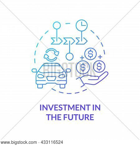 Investment In Future Blue Gradient Concept Icon. Spend Money On Reliable Services And Goods. Consume