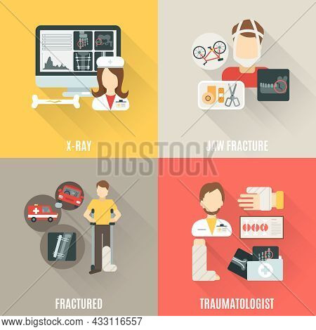 Fracture Bone Design Concept Set With X-ray And Traumatologist Flat Icons Isolated Vector Illustrati