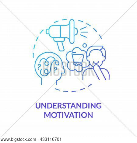 Understanding Motivation Blue Gradient Concept Icon. Factors That Make You Buy. Real Emotions And Th