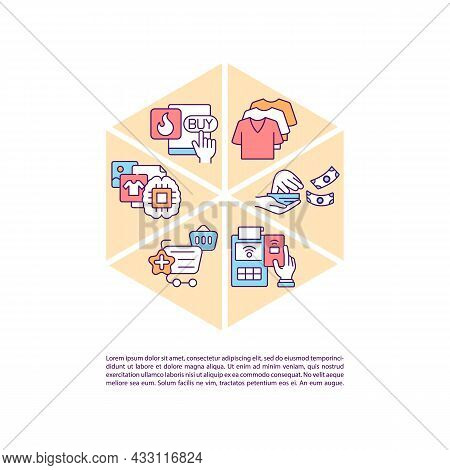 Excessive Buying Concept Line Icons With Text. Ppt Page Vector Template With Copy Space. Brochure, M