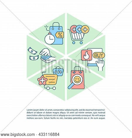 Avoiding Consumerism Concept Line Icons With Text. Ppt Page Vector Template With Copy Space. Brochur