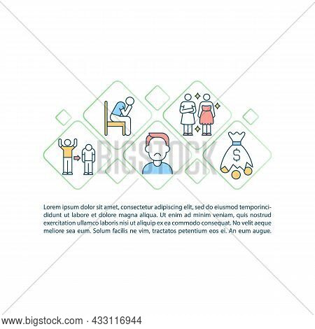 Escape Consumerism Concept Line Icons With Text. Ppt Page Vector Template With Copy Space. Brochure,