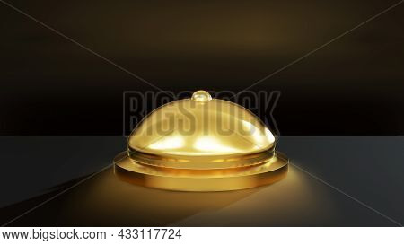 Reception Bell Isolated. 3d Rendering Cartoon, Demand, Metallic, Render, Old, Call, Motel, Button,
