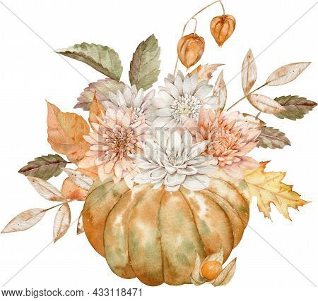 Watercolor Fall Orange Pumpkin Decorated With Asters, Dahlias, Fall Leaves And Physalis. Autumn Card