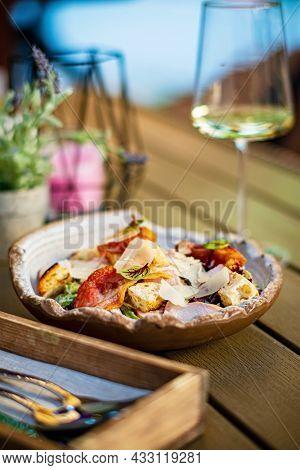 caesar salad in the restaurant