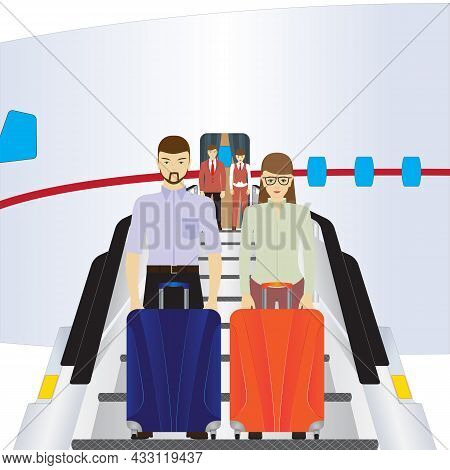 Passengers Stand On The Plane's Ladder. Passengers Climb The Plane. Passengers Are Preparing For The