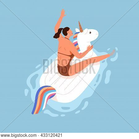 Happy Woman Having Fun And Floating On Rubber Ring In Pool On Summer Holidays. Person Swimming On In