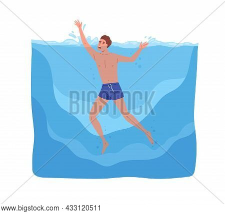 Man Sinking In Sea. Young Guy In Danger During Swimming, Calling For Help With Hands. Persons Body D