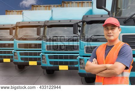 Happy Smiling Proud Confident Asian Young Man Beard Professional Truck Driver In Business Long Trans
