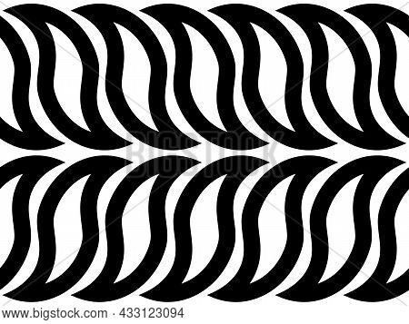 Monochrome Seamless Pattern With Black Braided Waves On White Background