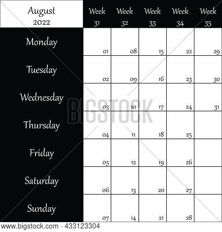 August 2022 Planner With Number For Each Week Black On Transparent Background