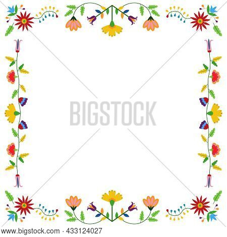 Mexican Otomi, Tenango Embroidery Style. Square Frame. Ethnic Floral Design. For Fiesta Invitation,