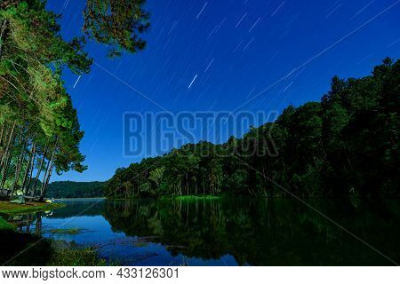 Landscape Of Night Camping With Stars Tail In Pang-ung Pine Forest Trees And Nature, Mae Hong Son, T