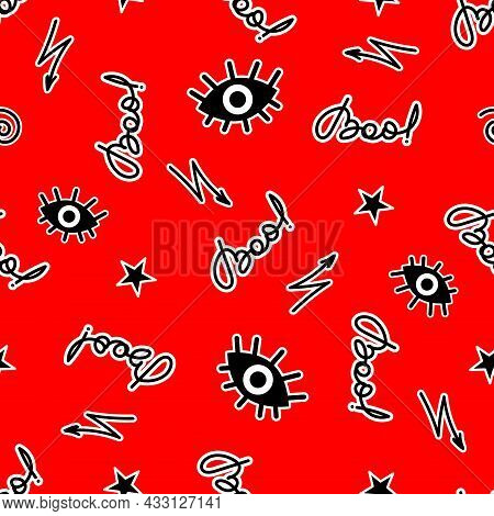 Halloween Background Design With Handwriting Boo Inscription And Drawn Signs On Bright Red Backdrop