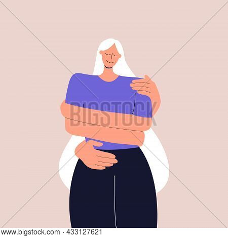 The Concept Of Love And Careful Attitude To Yourself. The Girl Hugs Herself By The Shoulders. Taking