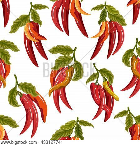 Hot Red Pepper Vector Pattern.red Hot Chili Peppers On A White Background In A Seamless Vector Patte
